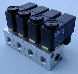 12 Volt Solenoid Valves - PU300 PU320 Series Aluminium 3/2 N/Closed + N/Open 1/8 1/4 BSP 0-10 Bar 12vDC solenoid valves from Connexion Developments Ltd 0800 808 7799